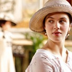 Sybil Crawley Branson of Downton Abbey wearing a summer outfit and hat.